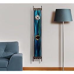 Large Modern Blue & Green Painted Pendulum Wall Clock - 48 3D Metal Wall Art Sculpture by Jon Allen - River of Dreams