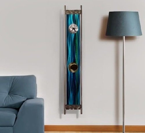 Large Modern Blue & Green Painted Pendulum Wall Clock - 48