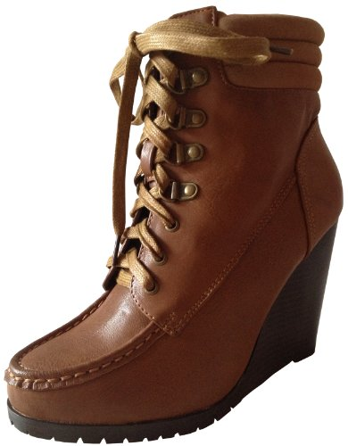 Fashion Womens Riding PU Boots Wedges ankle Ladies up Girls Heels Lace Platforms FBUOxwBq