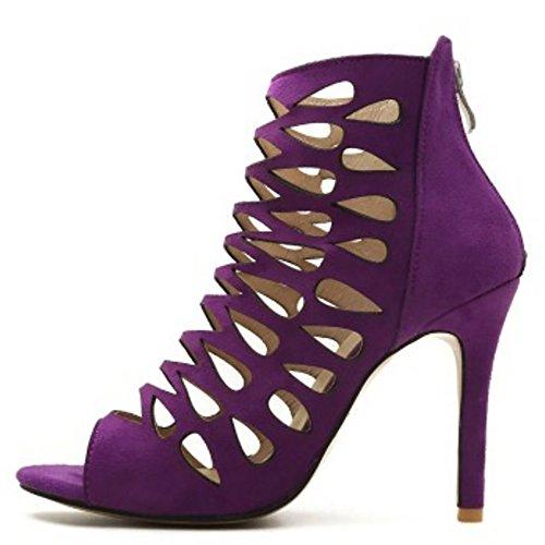 Toe Purple Peep Femmes Sandales Taoffen xwR7pOp