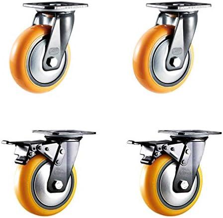 ユニバーサルホイール4 Xヘビーデューティスイベルキャスターホイール、フラットトロリー家具PU交換スイベルキャスター、ミュート、マルチサイズ