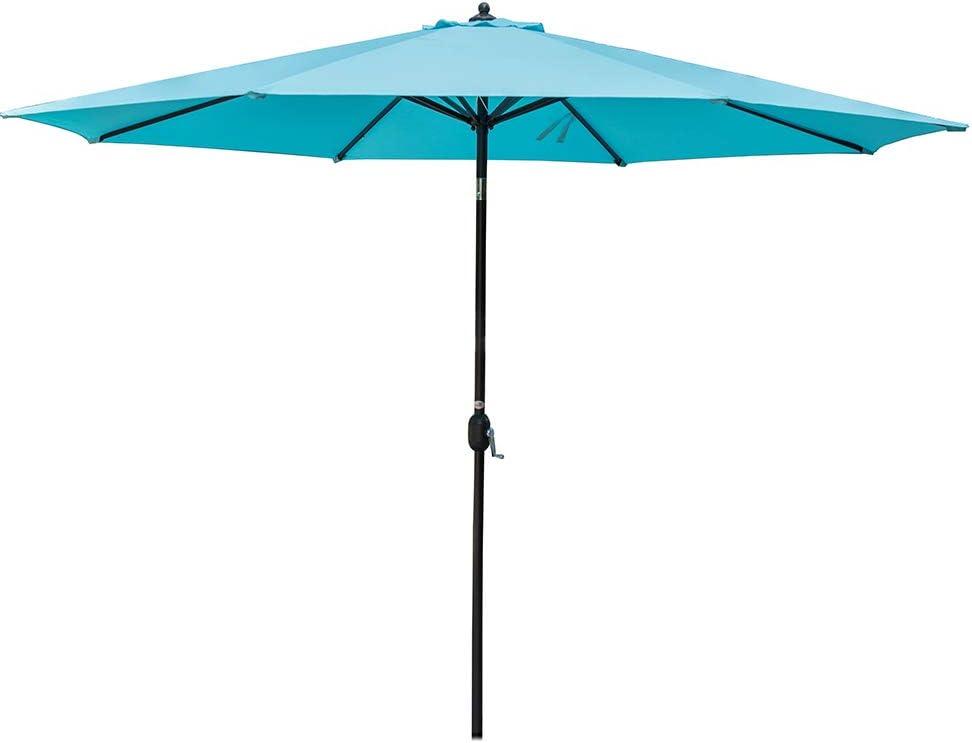 Sundale Outdoor 11 ft Aluminum Patio Umbrella Table Market Umbrella with Crank and Push Button Tilt for Garden, Deck, Backyard, Pool, 8 Steel Ribs, Polyester Canopy Blue