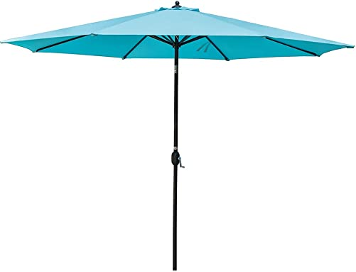 Sundale Outdoor 11 ft Patio Umbrella Table Market Umbrella with Aluminum Pole for Garden, Deck, Backyard, Pool, Polyester Canopy, No Push Button Tilt, Blue