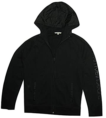Calvin Klein Jeans Men's Debossed Sleeve Full-Zip Nylon Hoodie, Black, (L)