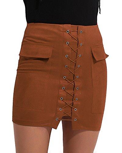 CNFIO Women's Sexy Bonded Suede Vintage Strap Fashion Pocket Bodycon Mini Skirt Brown XL ()