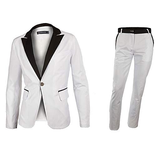 LANBAOSI Men's 1 Button White Dress Suit Jacket and Pants Sets