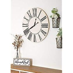 BrandtWorks Oversized Antique White Wall Farmhouse Clock, 24 x 24, Black