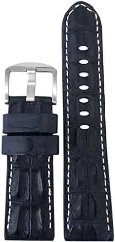 22mm Navy Genuine Hornback Alligator Watch Band with White Stitching by Panatime 125x75
