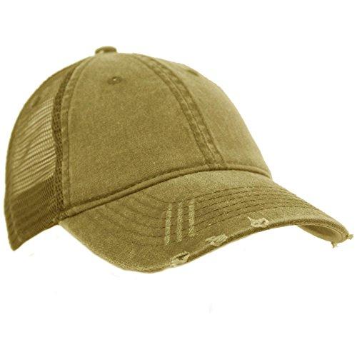 Cap Ball Outdoor - Unisex Distressed Low Profile Trucker Mesh Summer Baseball Sun Cap Hat Khaki