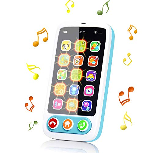 Blppldyci Baby Phone Toy, Kids Cell Phone Toy with Lights & Music, Role-Play Fun Early Educational Learning Toys for Toddlers 12+ Months, Gift for Baby Boys Girls 1 2 3 Year Old (Light Cyan)