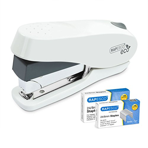 Rapesco ECO Luna - Grapadora de esfuerzo reducido, 50 hojas de capacidad y 2 cajas de grapas de 24/8mm y 24/6mm, blanco