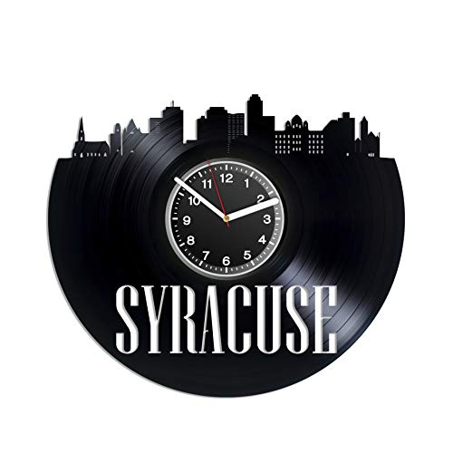 Kovides Syracuse Wall Clock Syracuse City New York Vintage Record Clock USA City Birthday Gift Idea for Dad Gift Christmas Idea for Mom Unique Decal United State Decor for House]()