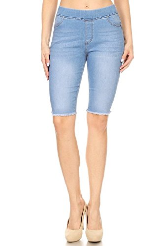Bermuda Cotton Jeans - Jvini Women's High Waisted Stretchy Pull-On Skinny Denim Bermuda Shorts (Small, LT-Blue)