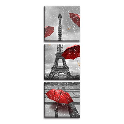 (Jingtao Art Paris Eiffel Tower Art Paintings Red Umbrellas Flying on The Rain Wall Decor Posters Print on Canvas (1212inch3),)