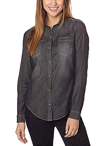 Calvin Klein Jeans Women's Long Sleeve Denim Edge Western Button Down Shirt (Black, Medium)