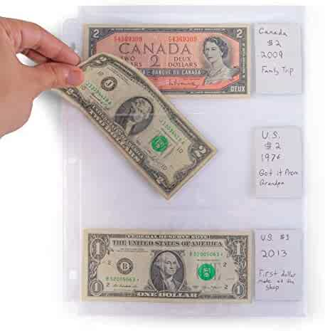 3-Pocket Vinyl Bill Sleeves 20 Pages | Bill Holders for Collectors | 8 x 3.5 Collecting Album Supplies | Vintage Currency Collection Protection | Great for Coupons, Receipts, and Record Keeping