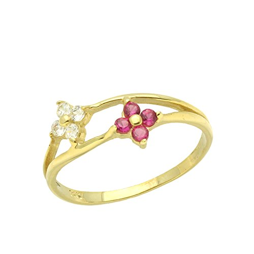 d White Cluster Yellow Gold Ring Size 2 To 5 ()