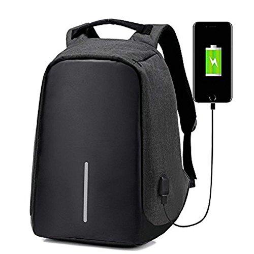 OASD Anti-Theft Laptop Backpack,USB Charging Port Nylon Waterproof Travel Bag College Backpack,Fit 17'' Laptop,black