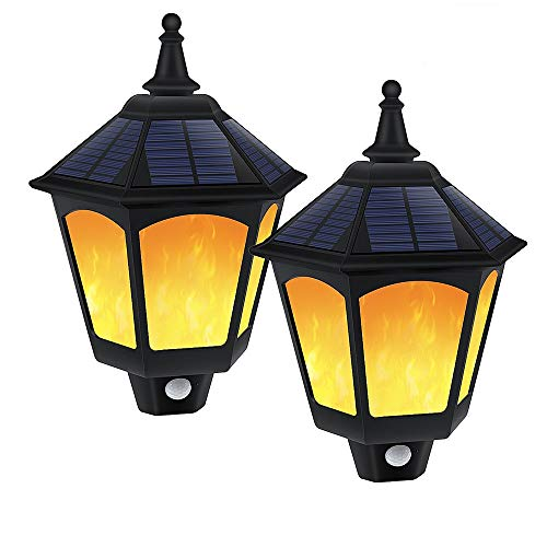 Solar Wall Light Outdoor, Greenclick Solar Wall Lantern PIR Motion Sensor Waterproof Solar Flame Lights for Pathway Patio Garden Yard Porch Stairways 2PCS ()