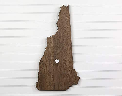 New Hampshire State Shape Wood Cutout Sign Wall Art in Oak. 21