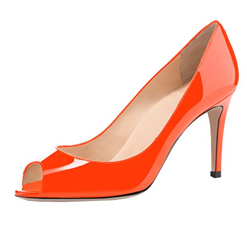 Pumps Shoes Patent Formal Slip Shoes 80mm Orange High Sammitop Toe Heel Women's Pumps On Peep xwSPqOP4H