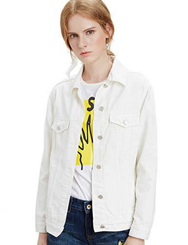 ZLSLZ Womens Basic Long Sleeve Boyfriend Solid Trucker Denim Jean Jackets Coats Outerwear (S, White)