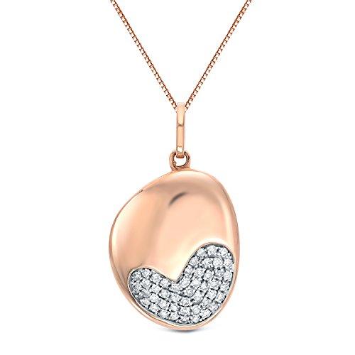 14k Rose Gold Round Diamond Heart Pendant Necklace (0.15 cttw, O.White, I2-I3) 18