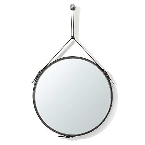 Ranslen Rustic Hanging Wall Mirror Decorative 19.5 Inch Round Wall Mirror with -