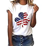 YOcheerful Women Plus Size Tops Clover Independence Day Print Short Sleeve T-Shirt Blouse Loose Tops (White, 3XL)