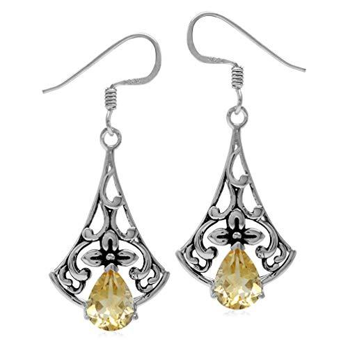 (2ct. Natural Citrine 925 Sterling Silver Flower Vintage Inspired Drop Dangle Hook Earrings)