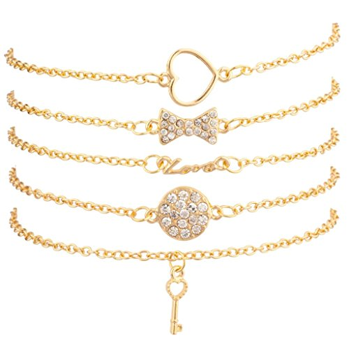 (Lux Accessories Pave Bow Circle Key Cutout Heart Love BFF Best Friends Arm Candy Set)