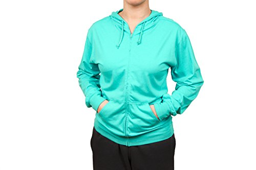 Cottonhood Long Sleeve T-Shirt Zip Hoodie (XX-Small, Teal) - 08 Zip Hoodie Sweatshirt