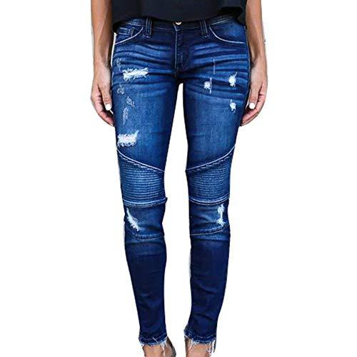 Distrutto Donna Denim Mezza Jeans Boyfriend Pantaloni Streetwear Vita Skinny Slim Dunkelblau S Chic Stretch Per 2xl Fit Strappato Giovane Casual Moda wOtw14Fq