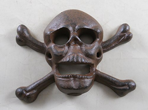 Cast Iron Wall Mounted Skull & Crossbones Bottle Opener For Sale