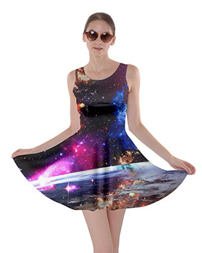 CowCow Womens Colorful in Dark Skater Dress, in Dark - M ()