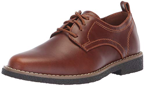 Deer Stags Boys' Zander Memory Foam Dress Comfort Oxford, Redwood/Dark Brown, 4 Medium US Big Kid