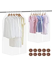 """hatatit 2 Pack 40"""" Garment Clothes Cover Protector 51"""" Closet Storage Bags Clear Dustproof Waterproof Hanging Clothing Storage Bag with Full Zipper for Suit Coat Dress Windcoat"""
