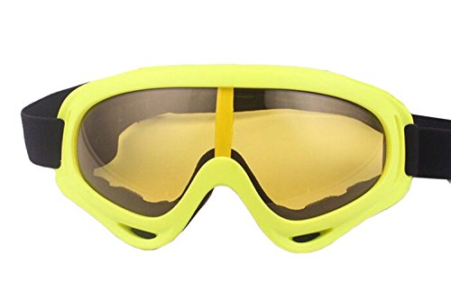 ALLMILL UV Protection Outdoor Sports Ski Glasses Windproof Snowmobile Bicycle Motorcycle Protective Glasses Ski Goggles-CS Army Tactical Goggles (Lemon)