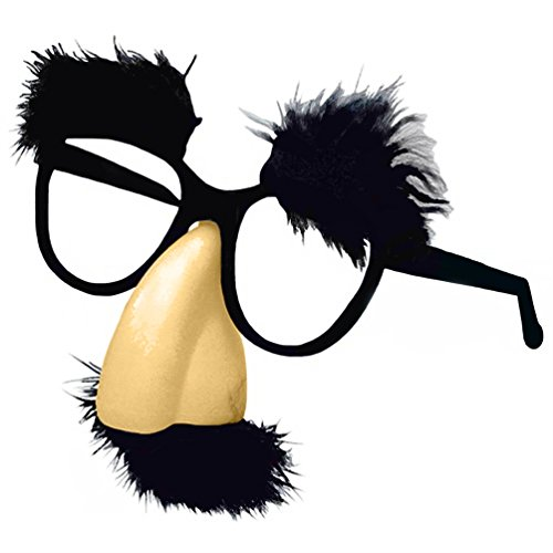 Nick Bigs Novelties Fuzzy Nose and Glasses Groucho Marx Beagle Puss Mustache Hair Disguise - With Attached Nose Glasses