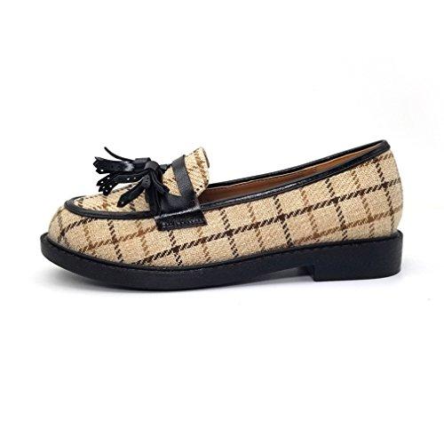 Giy Donna Mocassini Classici Penny Nappa Mocassino Piatto Punta Quadrata Slip-on Casual Dress Mocassino Oxford Scarpa Beige