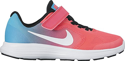 NIKE Kids' Revolution 3 (Psv) Running-Shoes, Chlorine Blue/White/Racer Pink/Black, 3 M US Little Kid by NIKE