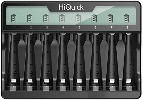 HiQuick 8 Bay AA AAA Battery Charger with LCD Display USB & Type C Input,Independent Slots Design, Smart Fast Charging Battery Charger for Ni-MH Ni-CD AA AAA Rechargeable Batteries