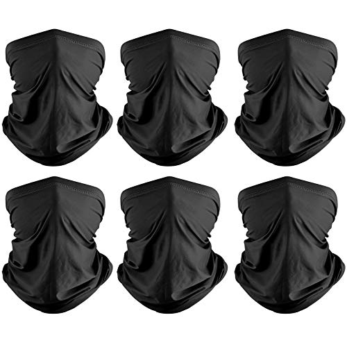 Co-Goldguard Neck Gaiter,6 Pack Face Bandana Cool Sun UV Protection Breathable Cover Tube Dust-Proof Reusable Washable Motorcycle Scarf for Women Men Outdoor