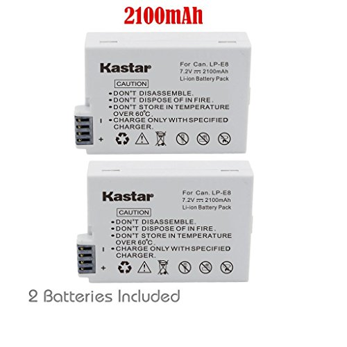 Kastar LPE8 Battery (2-Pack) for Canon LP-E8, LC-E8E, Canon EOS 550D, EOS 600D, EOS 700D, EOS Rebel T2i, EOS Rebel T3i, EOS Rebel T4i, EOS Rebel T5i Cameras and BG-E8 Grip