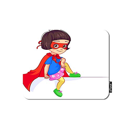 oFloral Superhero Mouse Pad Gaming Mouse Pad Girl Kindergarten Humor Mask Superhero Custume Decorative Mousepad Rubber Base Home Decor for Computers Laptop Office Home 7.9X9.5 -