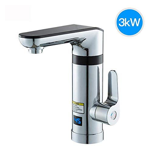 DSFGHE 220V Electric Water Heater Faucet LED Digital Display Faucet/Cold Rotating Electric Faucet with 3 Seconds Hot Waterless Faucet Water Tank Heating Instant Device,Silver