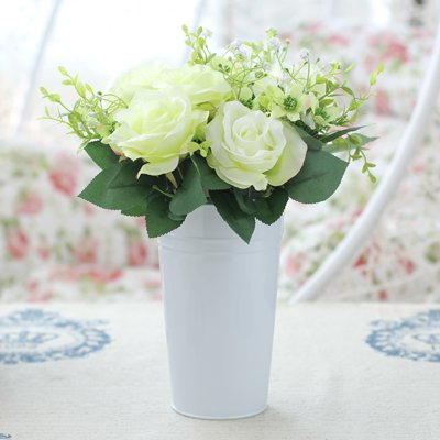 Amazon xhopos home artificial flowers mixed flower flower xhopos home artificial flowers mixed flower flower buckets bucket green rose real touch silk flowers home mightylinksfo