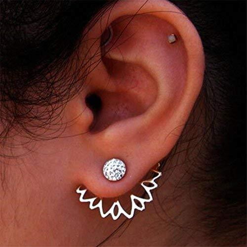 UNKE Sunflower With Single Row Drilling Rhinestone Womens Stud Earrings ,Sliver