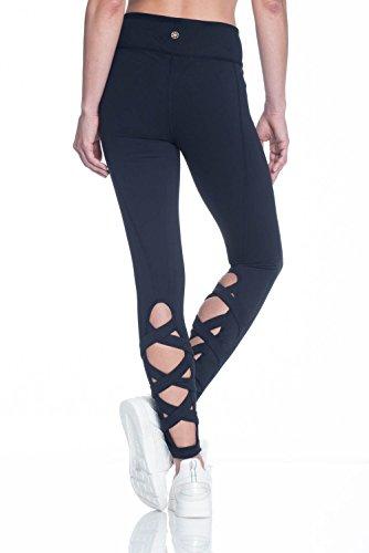 Gaiam Women's Om Yoga Full Length Legging with Open Crisscoss Detail Below Knee - Black Tap Shoe, X-Large