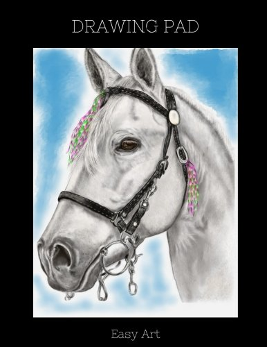Drawing Pad: White Horse Sketchbook, 100 Blank Pages, Extra large (8.5 x 11) White paper, Sketch, Draw and Paint